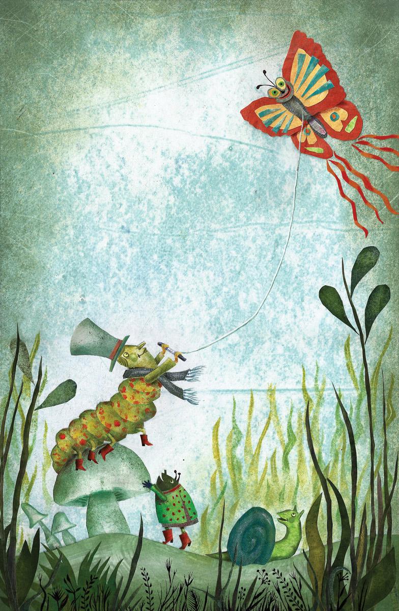 Caterpillar flies a kite