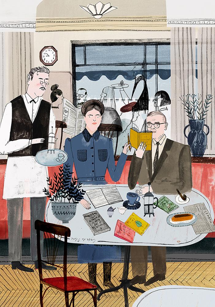 Simone de Beauvoir and Jean Paul Sartre at Café de Flore