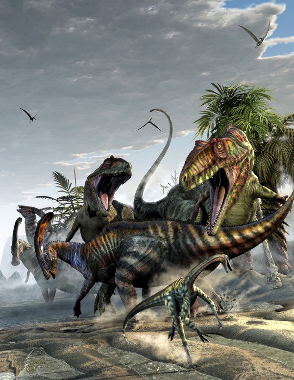 Giganotosaurus and Parasaurolophus