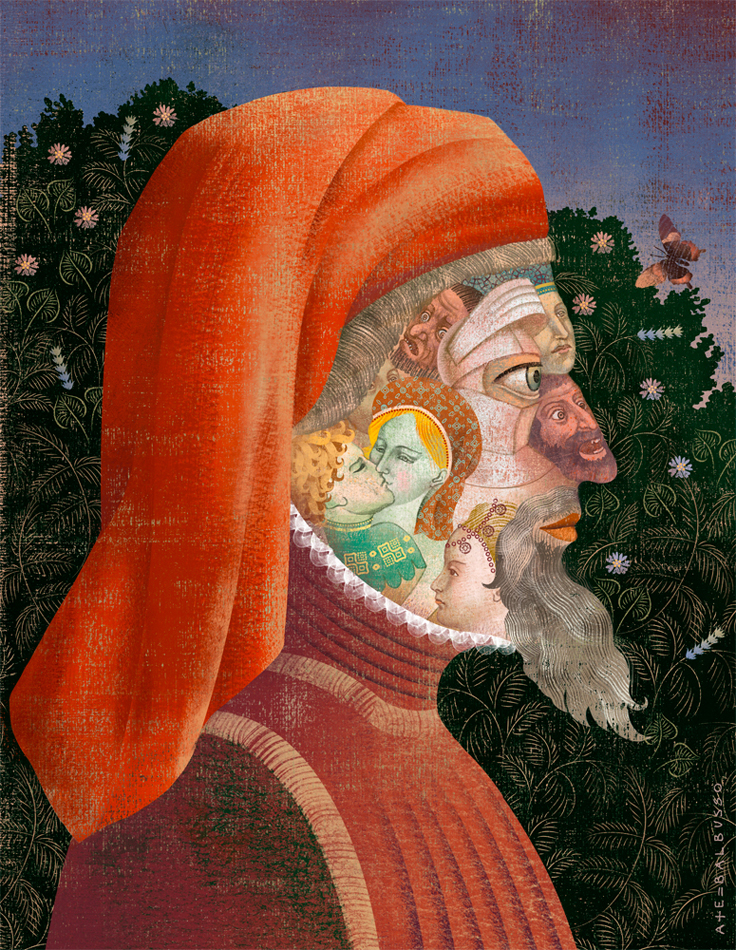 "Portrait of Geoffrey Chaucer. Cover art for ""The Canterbury Tales"""