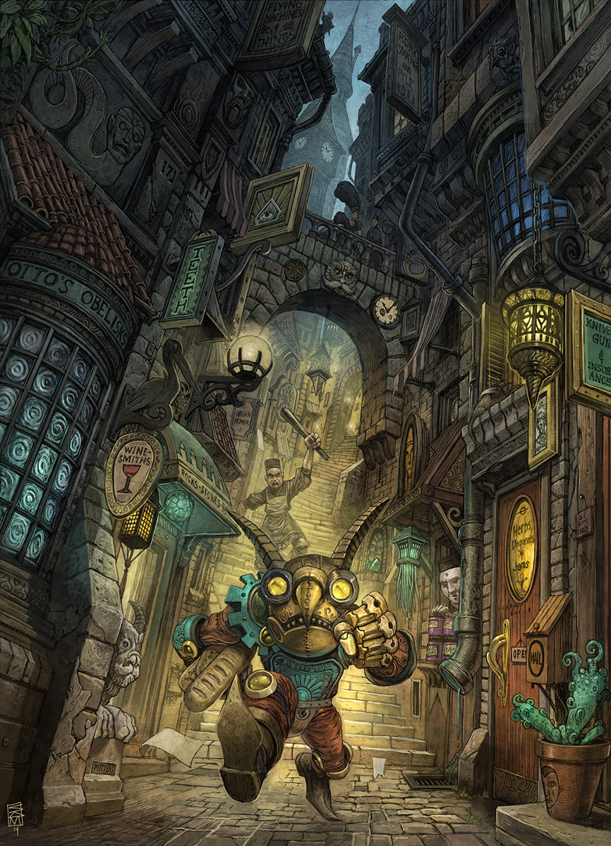 Clockwork Paladin: Garou City Street Scene