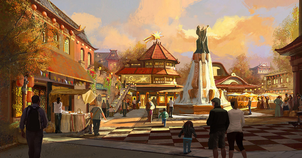Theme Park Square Illustration